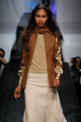 Model wearing brown outfit by Brooke Murphy