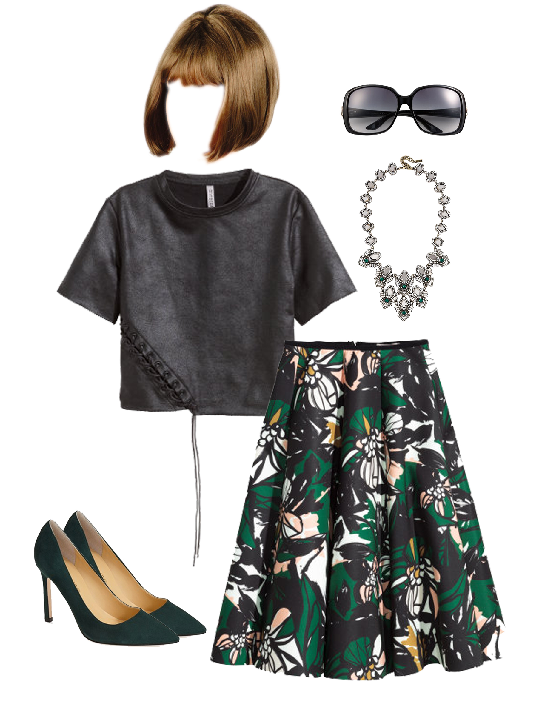 Wig from Pricefalls, Sunglasses from Gucci, Necklace from BaubleBar, Black Top from H&M, Floral Skirt from H&M and Heels from Ivanka Trump