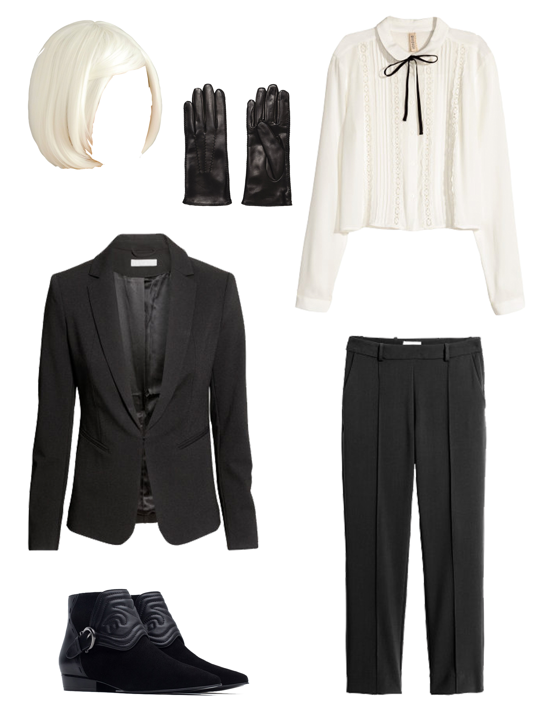 Wig from Aliexpress, Sunglasses from Topshop, White Blouse, Blazer & Pants from H&M, Gloves and Boots from Zara