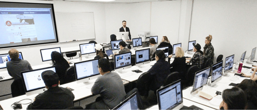 Stephan Rabimov, director of the Social Media Center and Fashion Journalism at Academy of Art University, leads a discussion on social media strategies during FSH 218 Blogging: Content Creation & Promotion class.