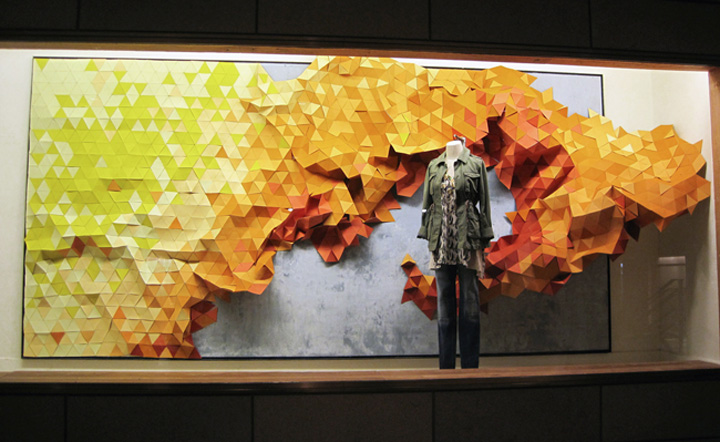 Anthropologie has become famous for their extravagant window displays which typically are made of recycled materials. Image courtesy: retaildesignblog.net