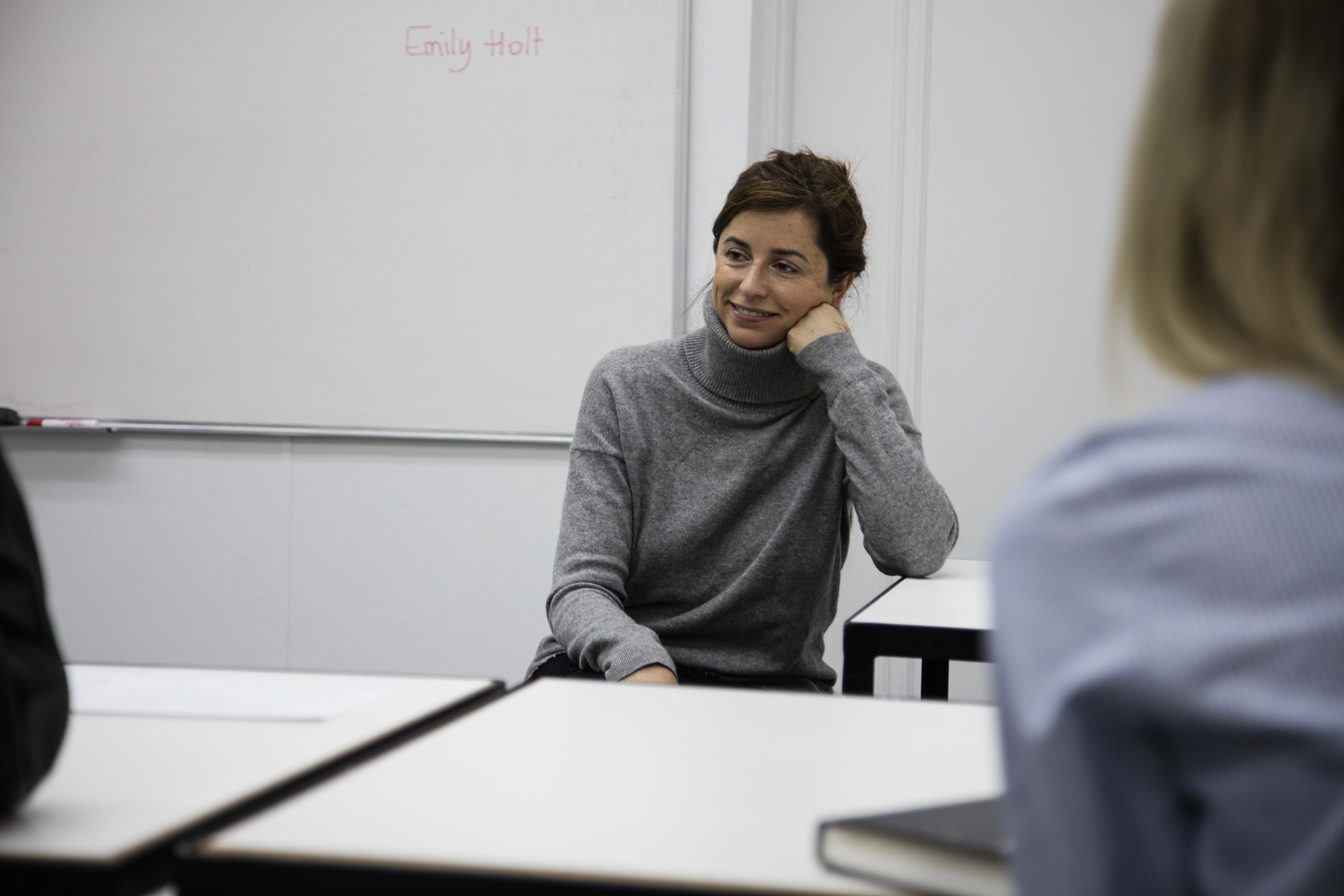 Emily Holt speaking to FSH 478 Editorial Styling students / Photo courtesy of Danielle Rueda