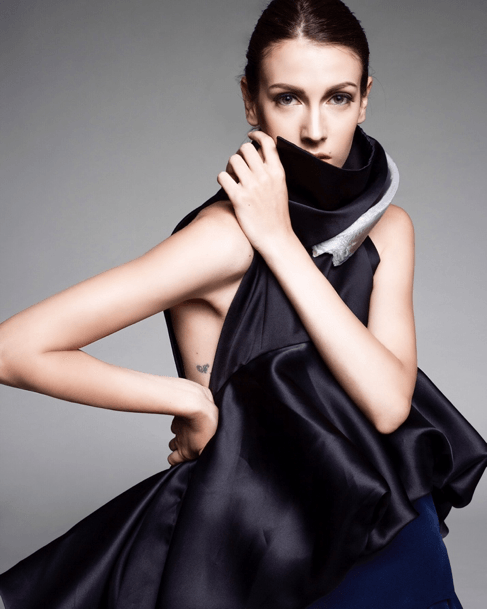 Model Noémie Medini pictured in Watson's award-winning dress inspired by Arctic ice melting. Photography by Fujio Emura, a student of the Photography Department at the Academy of Art University.