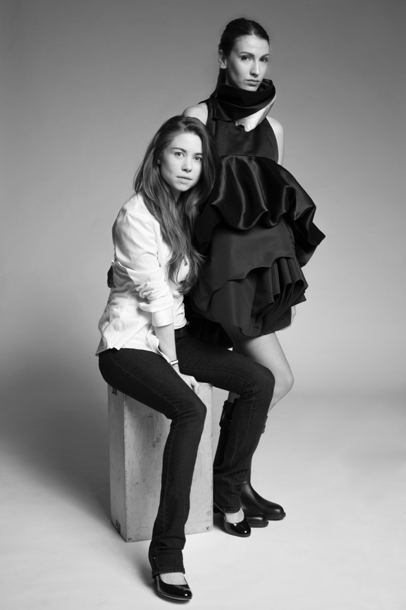 Designer Alyssa Watson (left) pictured above with award winning MET Gala dress inspired by melting Arctic ice. Model Noémie Medini. Photography by Fujio Emura.