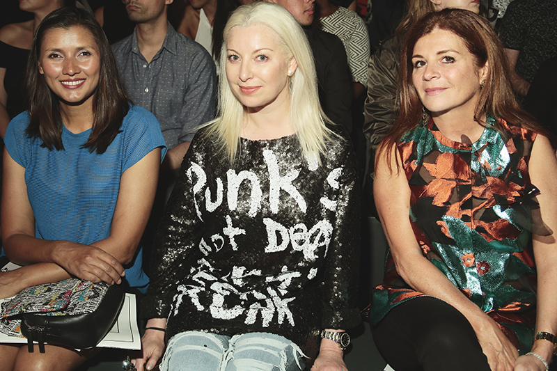 From the left is Actress Klavdia Ramnareine, the middle is Sonya Molodetskaya, the Haute Living Fashion Editor and San Francisco Socialite, on the left is her friend Farah Makras. Photo by: Getty Images