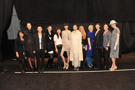 Designers and models pose in triumph!