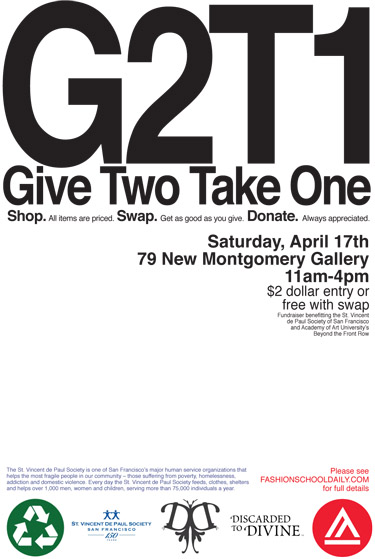 Don't Forget: Give 2 Take 1 is this Saturday!