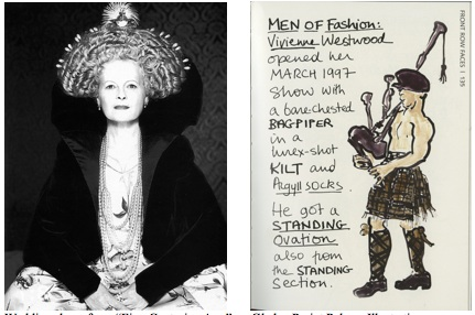 """Westwood dons a wedding dress from the """"Five Centuries Ago"""" collection (left) and Gladys Perint Palmer's bagpiper illustration"""