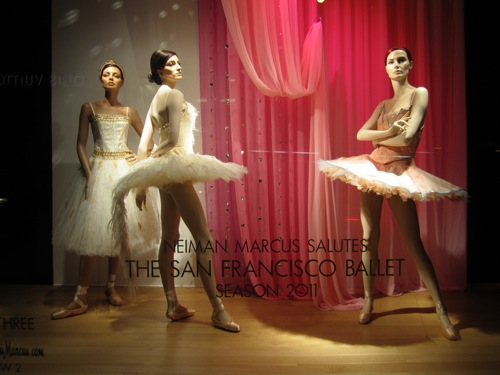 Ballerinas in the windows of Neiman Marcus