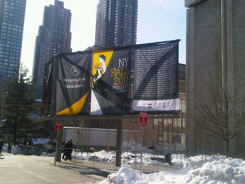 Gladys Perint Palmer's Illustrations Adorn Banners at Mercedes-Benz Fashion Week at Lincoln Center