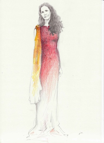 An illustration by Jungah Lee of Betsy Franco wearing Camilla Olson