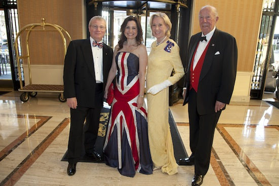 Consul General Julian Evans (from left), Mrs. Gayle Evans, Charlotte Schultz Hon CVO, and The Hon George Schultz at the Royal Ceremonial Ball to celebrate the 85th birthday of Queen Elizabeth II and the royal wedding of Prince William and Catherine Middleton at the Intercontinental Mark Hopkins Hotel in San Francisco. Photo credit: Ashleigh Reddy.