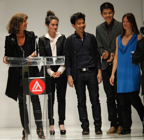 Special guest Laure du Pavillon (left) with 2011 French Exchange recipients (from left) Drew Williams, Peter Nguyen, Peter Yang and Lisa Relth at May's Spring Fashion Show. (Photo credit: Randy Brooke)