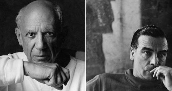 Left: Portrait of artist Pablo Picasso June 2, 1954 in Vallauris, France. © Arnold Newman/Getty Images. Right: Cristóbal Balenciaga (circa 1952). © Bettmann/CORBIS.