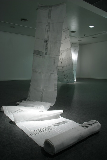 Sung Soon Lee,  Seon, 2010-2011 Printing and drawing on Ramie, patchwork, 216.5in x 22in