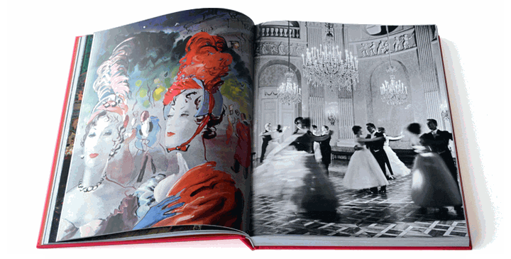An illustration by Reboux of Baroness de Rothschild and Countess de Castellane, from French Vogue August 1937/ Dancing the Vienna Waltz at the Auersperg Palace in Vienna.