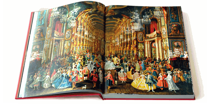 Frank Jakob Roussea's painting of a fancy dress ball in Bonn's Residence Theatre, 1754. Beethoven's grandfather is shown among the musicians.
