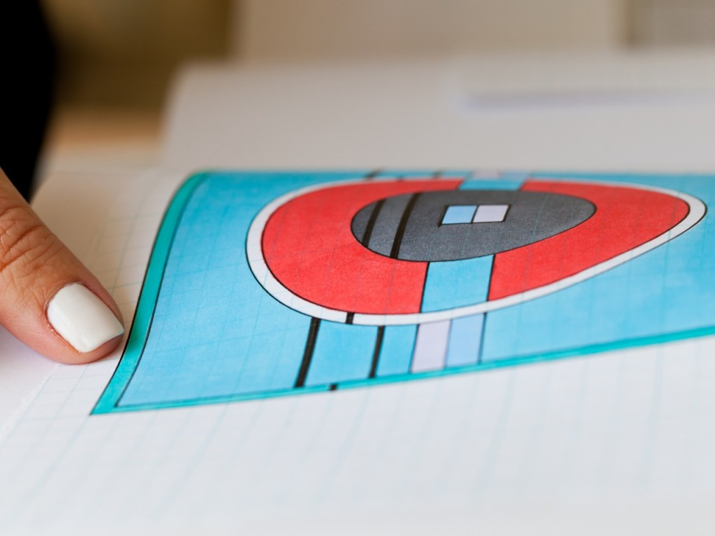 A geomtric print for one of Louisa Parris' scarves.