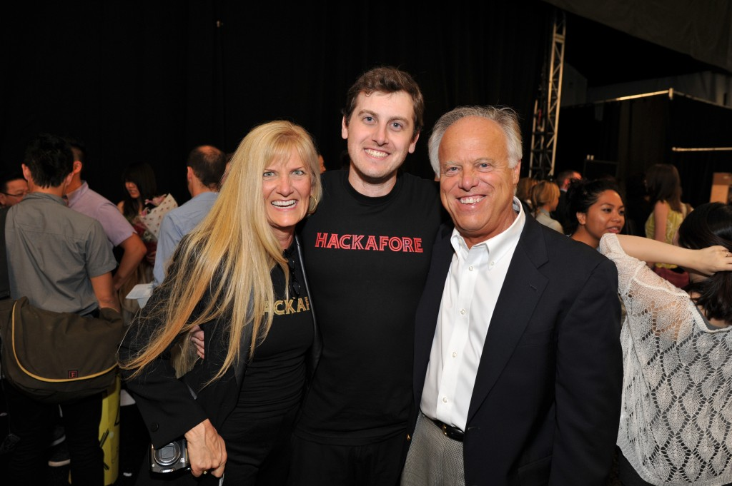 David Doerr with his parents after the show