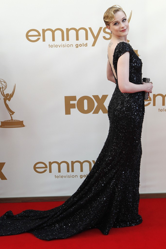 Evan Rachel Wood in a sparkly black Elie Saab sequin dress