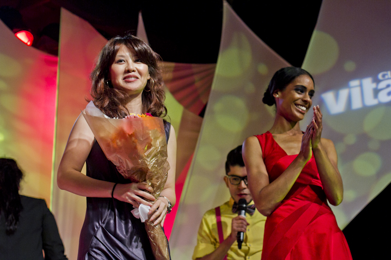 Runner-up Jessie Jiu Liu and her VitaminWater Inspired red gown