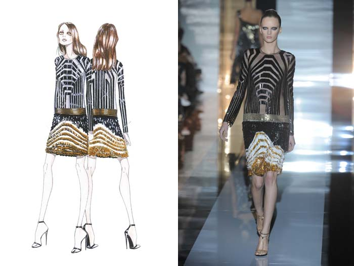 Sketch of Gucci design with photo of designed garment
