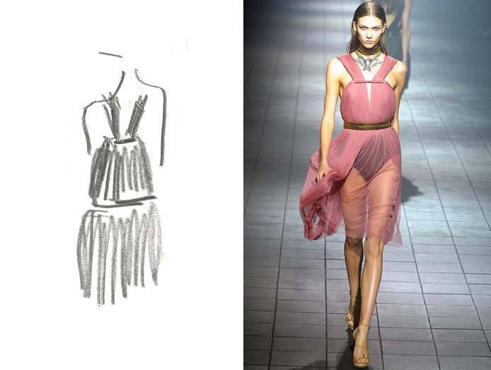Sketch of Lanvin design with photo of designed garment