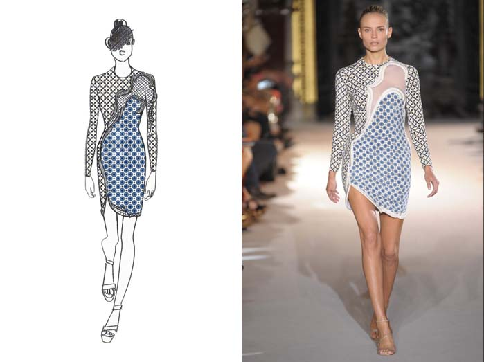 Sketch of Stella McCartney design with photo of designed garment