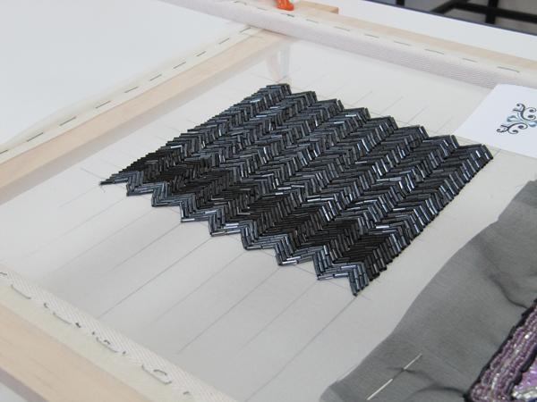 Embroidered Tambour herringbone pattern design