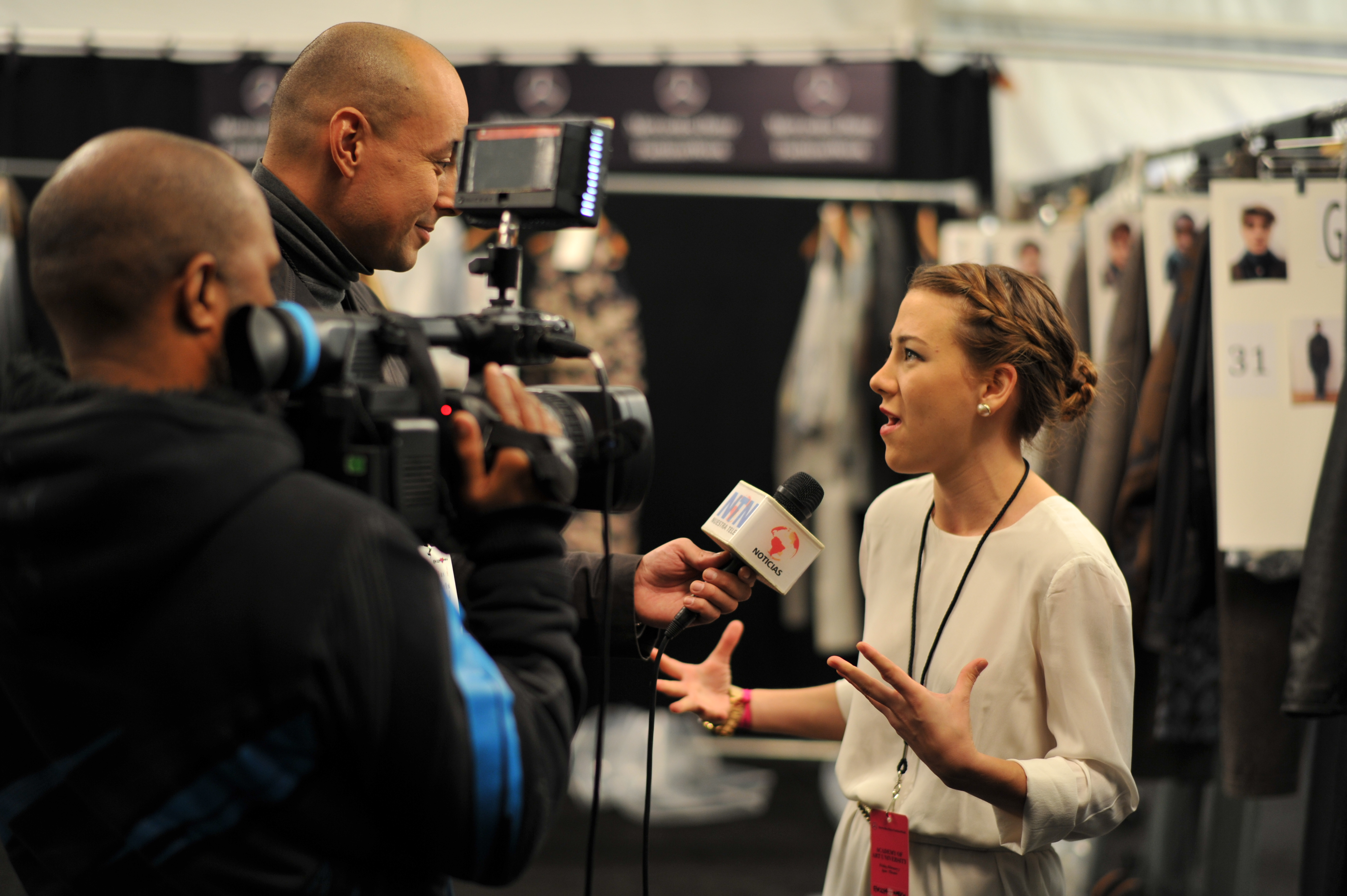 Andrea Nieto during an interview with press at New York Fashion Week in February 2014.