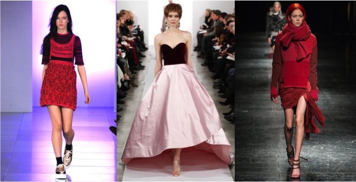 From left to right: Mark Fast Fall 2014 Collection, Oscar de la Renta Fall 2014 Collection, Prabal Gurung Fall 2014 Collection