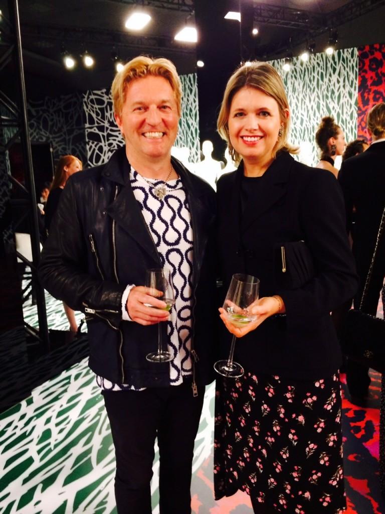 Keanan Duffty with designer Jenny Packham