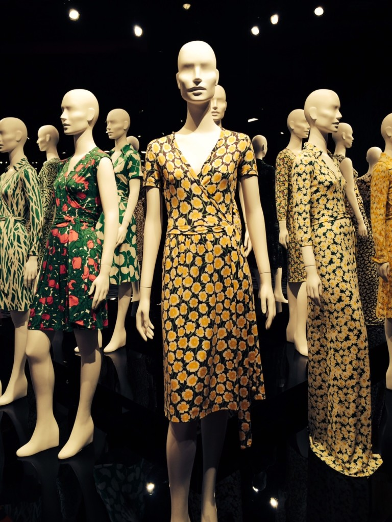 Rows of DVF wrap dresses.