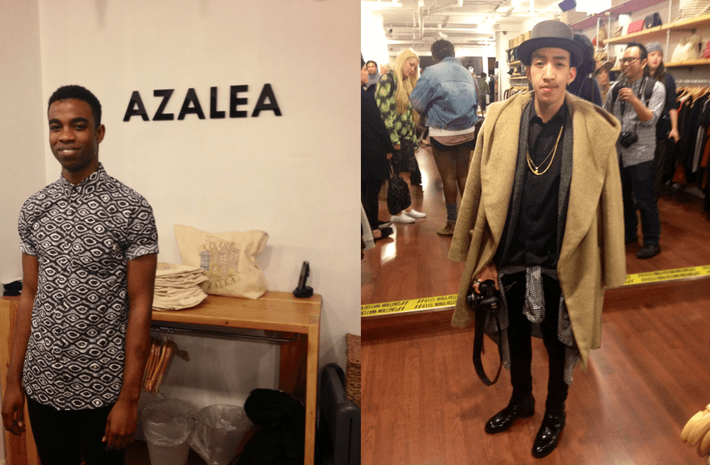 Azalea employees and guests displaying the evening's prevalent style choice: menswear and menswear-inspired fashion.