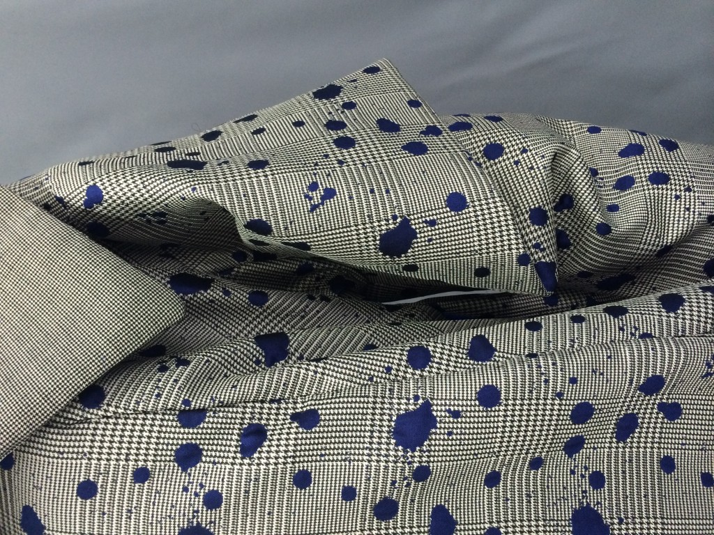 Pops of cobalt offset traditional suiting fabrics.