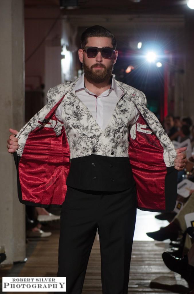 Model sporting the floral-block Artful Gentleman suit. Photo by Robert Silver.