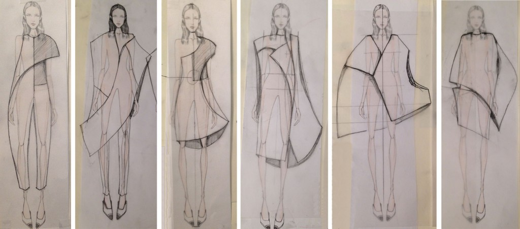 Illustrated lineup of Detro's Spring 2015 collection.