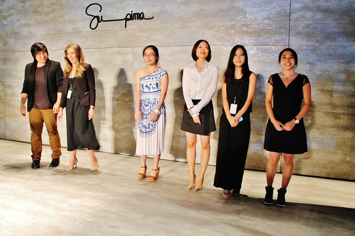 From left to right, finalists David Lee, Fashion Institute of Design and Merchandising; Anastasia Iafrate, Kent State University; Yuxi Bi, Savannah College of Art and Design; Ou Ma, Fashion Institute of Technology; Sharon Moon, Rhode Island School of Design; and Jenny Hoang, Academy Of Art University.