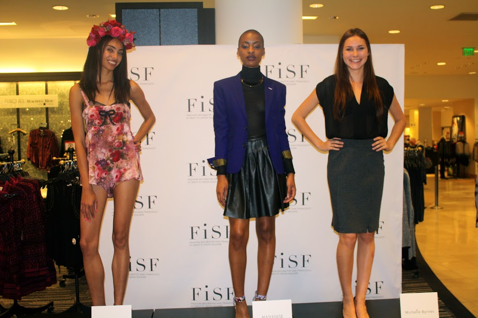 Models wearing looks from local designers, including Mansoor Scott (middle). Photo by Alexa Palacios.