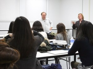 Massimo Redaelli and Keanan Duffty speak to the class; photo by Bob Toy