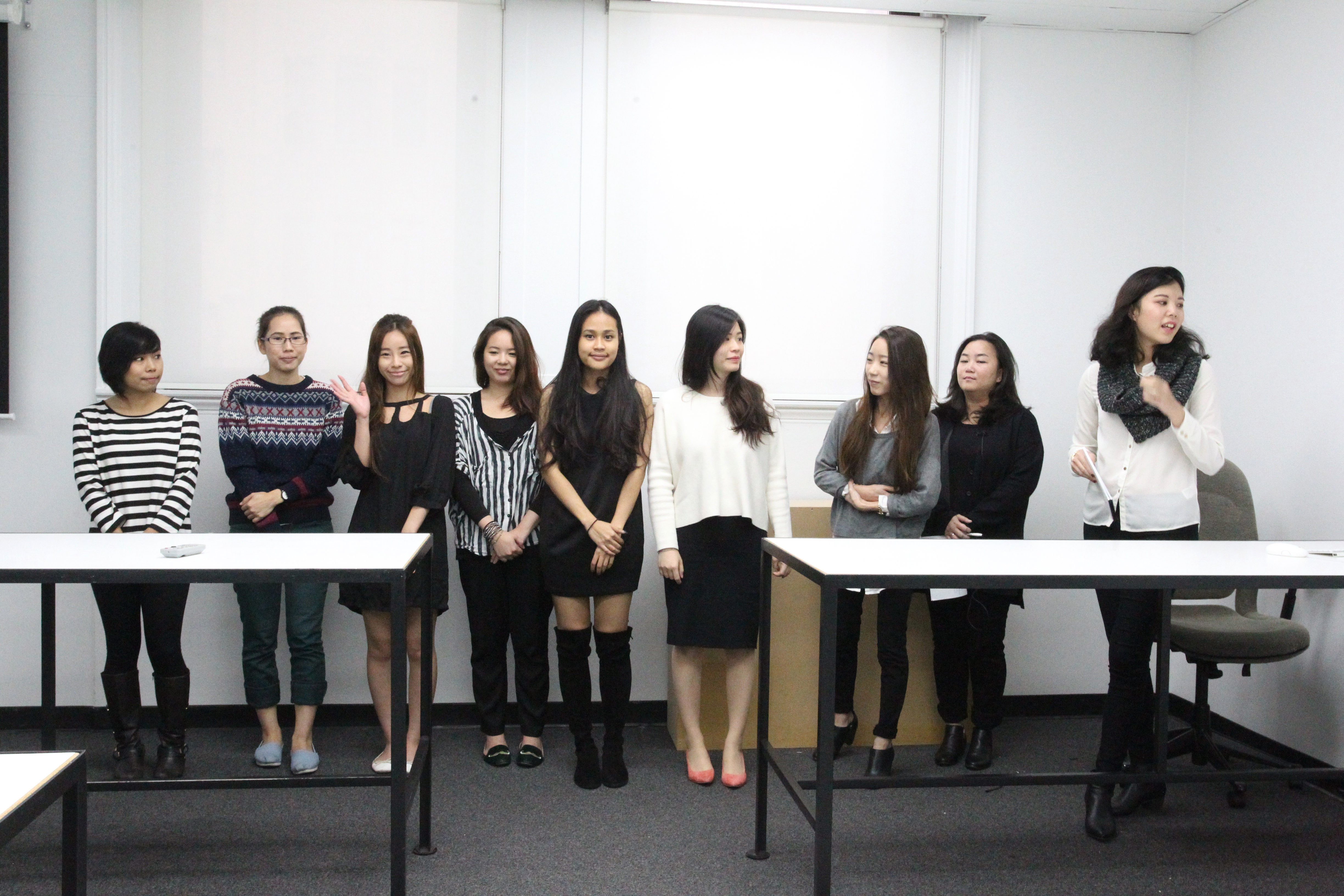 Students present their business plan to the class and Massimo Redaelli; photo by Bob Toy