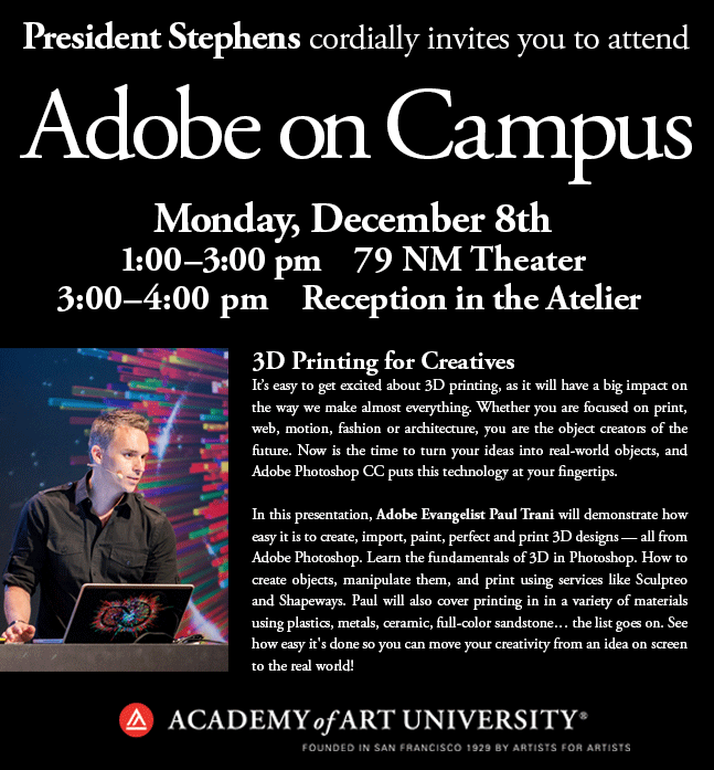 Upcoming Event: Adobi Talks 3D Printing With Academy of Art