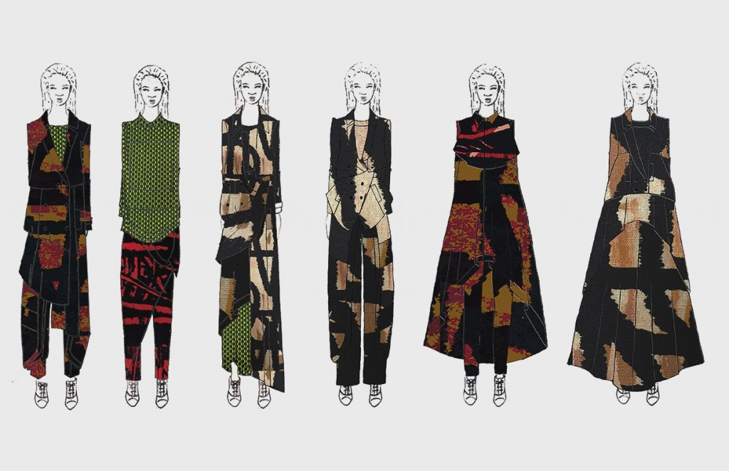 Illustrated lineup of the collection by Emmanuelle Jones and Ghazaleh Khalifeh.