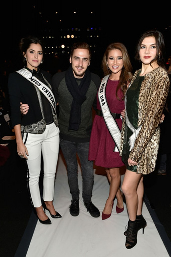 Miss Universe 2014 Paulina Vega, Kendall Schmidt, lead singer of Big Time Rush, Miss USA 2014 Nia Sanchez, and Miss Teen USA 2014 K. Lee Graham.   Image: Getty Images