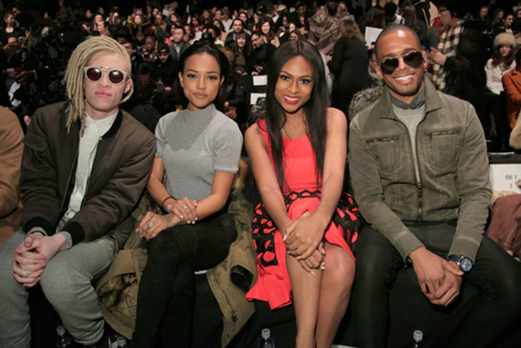 From left: . Model Shaun Ross, model Karrueche Tran, actress Tashiana Washington and actor and DJ Eric West. Image: Getty Images