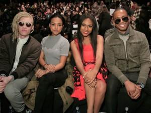 From left: . Model Shaun Ross, model Karrueche Tran, actress Tashiana Washington and actor and DJ Eric West. Image: Getty Images