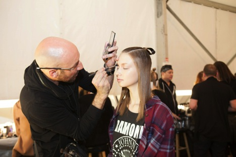 Victor Cembellin backstage at Academy of Art University show during NYFW. Image Courtesy of Stacy Murphy Photography
