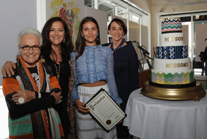 Rosita, Angela and Margherita Missoni with Academy of Art University President Elisa Stephens