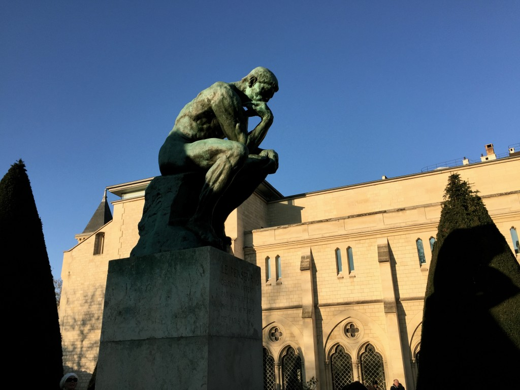 """Auguste Rodin's """"The Thinker"""" monument outside the Rodin Museum"""