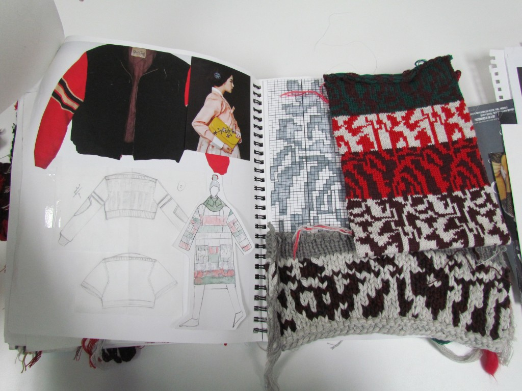 Fabric swatches and inspiration images from Gisel Ko's graduation collection.